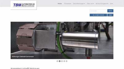 Website TBM Automation AG, Motion & Drives