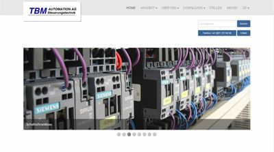 Website TBM Automation AG, Steuerungstechnik